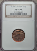 Albania, Albania: Zog I 10 Qindar Leku 1926-R MS66 Red and Brown NGC,...