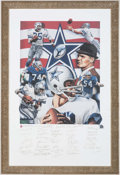 Football Collectibles:Others, Dallas Cowboys Multi-Signed Framed Limited Edition Lithograph (35 Signatures).. ...