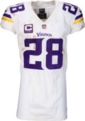 Football Collectibles:Uniforms, 2015 Adrian Peterson Game Worn, Unwashed Minnesota Vikings Jersey - Photo Matched to Season Opener vs. 49ers....
