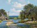 Fine Art - Painting, American, William A. Slaughter (American, 1923-2003). Bluebonnets inSummer, 1976. Oil on canvas. 18 x 24 inches (45.7 x 61.0 cm)...