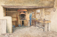 Mondel Rogers (American, 20th Century) Blacksmith Shop, Kit Carson House Watercolor on paper 22-3