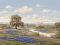 Fine Art - Painting, American, C.P. Montague (American, 20th Century). Bluebonnets andFlowering Tree. Oil on canvas. 30 x 40 inches (76.2 x 101.6cm)...