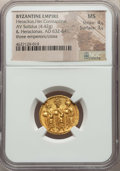 Ancients:Byzantine, Ancients: Heraclius (AD 610-641), with Heraclius Constantine andHeraclonas as Caesar. AV solidus (4.42 gm). NGC MS 4/5 -3/5. ...