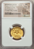 Ancients:Byzantine, Ancients: Phocas (AD 602-610). AV solidus (4.37 gm). NGC MS 5/5 -4/5, clipped...