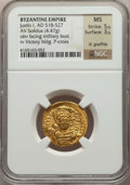 Ancients:Byzantine, Ancients: Justin I (AD 518-527). AV solidus (4.47 gm). NGC MS5/5 - 3/5, lt. graffito....