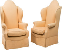 A Pair of William and Mary-Style Upholstered Armchairs, 19th century and later 55 x 32 x 30 inches (139.7 x 81.3 x... (T...
