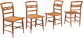 Furniture : American, Four American Carved Tiger Maple Hitchcock Chairs, early 19th century. 33-1/4 x 17-3/8 x 17 inches (84.5 x 44.1 x 43.2 cm). ... (Total: 4 Items)