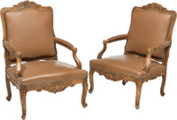A Pair of French Regence-Style Wood and Leather Armchairs, early 20th century 41-3/4 x 29-1/2 x 29-1/2 inches (106... (T...