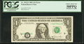 Error Notes:Shifted Third Printing, Misaligned Overprint. Fr. 1912-F $1 1981A Federal Reserve Note. PCGS Choice About New 58PPQ.. ...