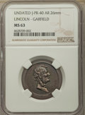 Medals and Tokens: , (1882) Medal Lincoln-Garfield Silver, J-PR-40, MS61 NGC. AR 26 mm....