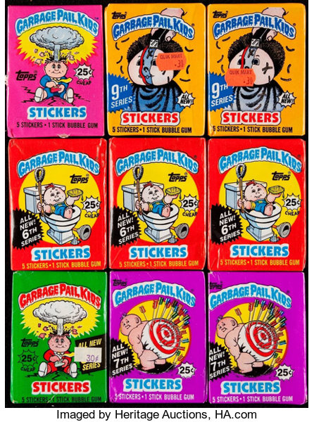 3d4b5d5dbf7 1985-87 Topps Garbage Pail Kids Collection - 9 Packs