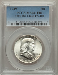 1949 50C Obverse Die Clash, FS-402, MS64+ Full Bands PCGS. PCGS Population: (19/20 and 2/1+). NGC Census: (0/0 and 0/0+)...