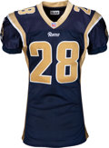 Football Collectibles:Uniforms, 2001 Marshall Faulk Game Worn St. Louis Rams Jersey - Photo Matched to 9/30 vs. Dolphins (Team Repairs)....