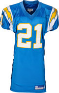 Football Collectibles:Uniforms, 2002 LaDainian Tomlinson Game Worn, Unwashed San Diego Chargers Throwback Jersey - Photo Matched to 11/3 vs. Jets....