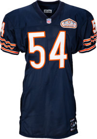 2001 Brian Urlacher Game Worn, Unwashed Chicago Bears Jersey - Photo Matched to 12/2 vs. Lions
