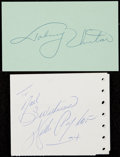 Autographs:Letters, Walter Payton & Johnny Unitas Signed Cut Lot of 2....