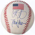 Autographs:Baseballs, 2001 World Series Ceremonial First Pitch Dual Signed Baseball withSchilling & Johnson. . ...