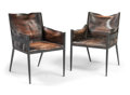 Furniture , Jean-Michel Frank (French, 1895-1941). Pair of RareArmchairs, circa 1939, Comte S.R.L.. Painted iron, leather. 35x 23-... (Total: 2 Items)