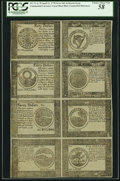Colonial Notes:Continental Congress Issues, Continental Currency April 11, 1778 Yorktown Issue Single Pane Uncut Sheet $40-$30-$20-$4-$8-$7-$6-$5 Blue Counterfeit Detecto...