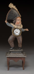 Clocks & Mechanical:Clocks, A Carved Wood Figural Town Crier Clock, 19th century. Marks to movement: PIERRE ROMILLY A GENEVE. 18-1/4 in... (Total: 2 Items)