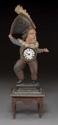 A Carved Wood Figural Town Crier Clock, 19th century Marks to movement: PIERR