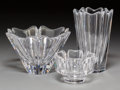 Decorative Arts, Continental:Other , Three Orrefors Orion and Corona Pattern CrystalHollowware ...