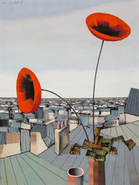 Alvaro Guillot (American/French, 1931-2010) Red on the City, 1968 Oil on canvas 40 x 30 inches (1