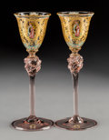 Decorative Arts, Continental, Nine Italian Gilt and Enameled Murano Cordial Glasses, 20th century. 6-1/4 x 2-1/2 inches (15.9 x 6.4 cm) (each) . PROPER... (Total: 9Items)