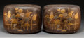 Asian:Japanese, A Pair of Japanese Inlaid Copper and Kiri Wood Hibachi Braziers.7-3/4 x 11 inches (19.7 x 27.9 cm). ... (Total: 2 Items)