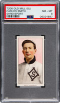 Baseball Cards:Singles (Pre-1930), 1909-11 T206 Old Mill Carlos Smith (Shreveport) PSA NM-MT 8 - Pop Two, None Higher!. ...