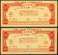 Miscellaneous, (Unknown), CA- Anti-Upton Sinclair Political Note 1 Sinclair Dollar ND (1934). Two Examples. ... (Total: 2 notes)