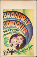 "Movie Posters:Musical, Broadway Gondolier (Warner Brothers, 1935). Window Card (14"" X 22""). Musical.. ..."
