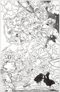 Original Comic Art:Covers, Stan Sakai TMNT/Usagi Yojimbo Variant Cover Original Art(IDW, 2017)....