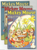 Platinum Age (1897-1937):Miscellaneous, Mickey Mouse Magazine V3#7-V3#11 File Copies Group (K. K. Publications, Inc., 1937). These file copies are in FN condition e... (5 Comic Books)