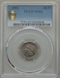 1882 3CN MS62 PCGS Secure. PCGS Population: (8/88 and 0/3+). NGC Census: (4/42 and 0/0+). CDN: $410 Whsle. Bid for probl...