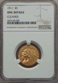 Indian Half Eagles, 1911 $5 -- Cleaned -- Details NGC. Unc. NGC Census: (385/7995). PCGS Population: (205/4967). MS60. Mintage 915,000....