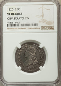 1820 25C Small 0 -- Obverse Scratched -- NGC Details. VF. NGC Census: (7/74). PCGS Population: (9/78). VF20. Mintage 127...