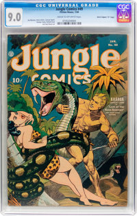 "Jungle Comics #49 Davis Crippen (""D"" Copy) Pedigree (Fiction House, 1944) CGC VF/NM 9.0 Cream to off-white pag..."