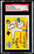 Autographs:Sports Cards, Signed 1967 Laughlin Carl Hubbell #34 SGC Authentic. ...