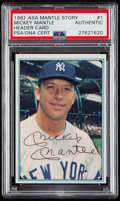 Autographs:Sports Cards, 1982 ASA Mickey Mantle Signed Header Card #1 PSA/DNA Authentic. ...