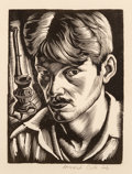 Prints & Multiples, Howard Norton Cook (1901-1980). Self Portrait, n.d.. Woodcut on paper. 3-7/8 x 2-7/8 inches (9.8 x 7.3 cm) (image). 6-1/...