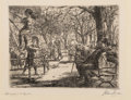 Fine Art - Work on Paper:Print, John French Sloan (1871-1951). Swinging in the Square, 1912. Etching on laid paper. 3-7/8 x 5-1/8 inches (9.8 x 13 cm) (...