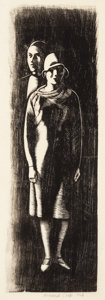Prints & Multiples, Howard Norton Cook (1901-1980). Couple, n.d.. Woodcut on paper. 7-1/2 x 2-1/2 inches (19.1 x 6.4 cm) (image). 9-1/2 x 3-...