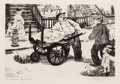Fine Art - Work on Paper:Print, Peggy Bacon (1895-1987). The Rival Ragman, c. 1938. Drypoint on BFK paper. 6 x 8-7/8 inches (15.2 x 22.5 cm) (image). 10...