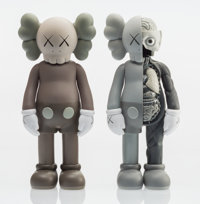 KAWS (b. 1974) Companion, set of two, 2016 Painted cast vinyl 10-1/2 x 4-1/2 x 2-1/2 inches (26.7