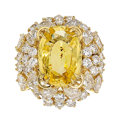 Estate Jewelry:Rings, Ceylon Yellow Sapphire, Diamond, Gold Ring. ...