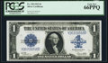 Large Size:Silver Certificates, Fr. 238 $1 1923 Silver Certificate PCGS Gem New 66PPQ.. ...