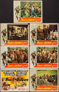 "Movie Posters:War, Back to Bataan (RKO, 1945). Title Lobby Card & Lobby Cards (6)(11"" X 14""). War.. ... (Total: 7 Items)"