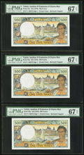 World Currency, Tahiti Institut D'Emission D'Outre-Mer 500 Francs ND (1970) Pick25a Three Examples.. ... (Total: 3 notes)