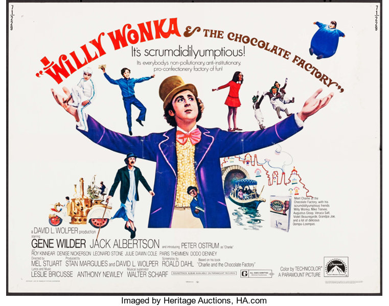 Willy Wonka & the Chocolate Factory (Paramount, 1971). Half Sheet   Lot  #52440   Heritage Auctions
